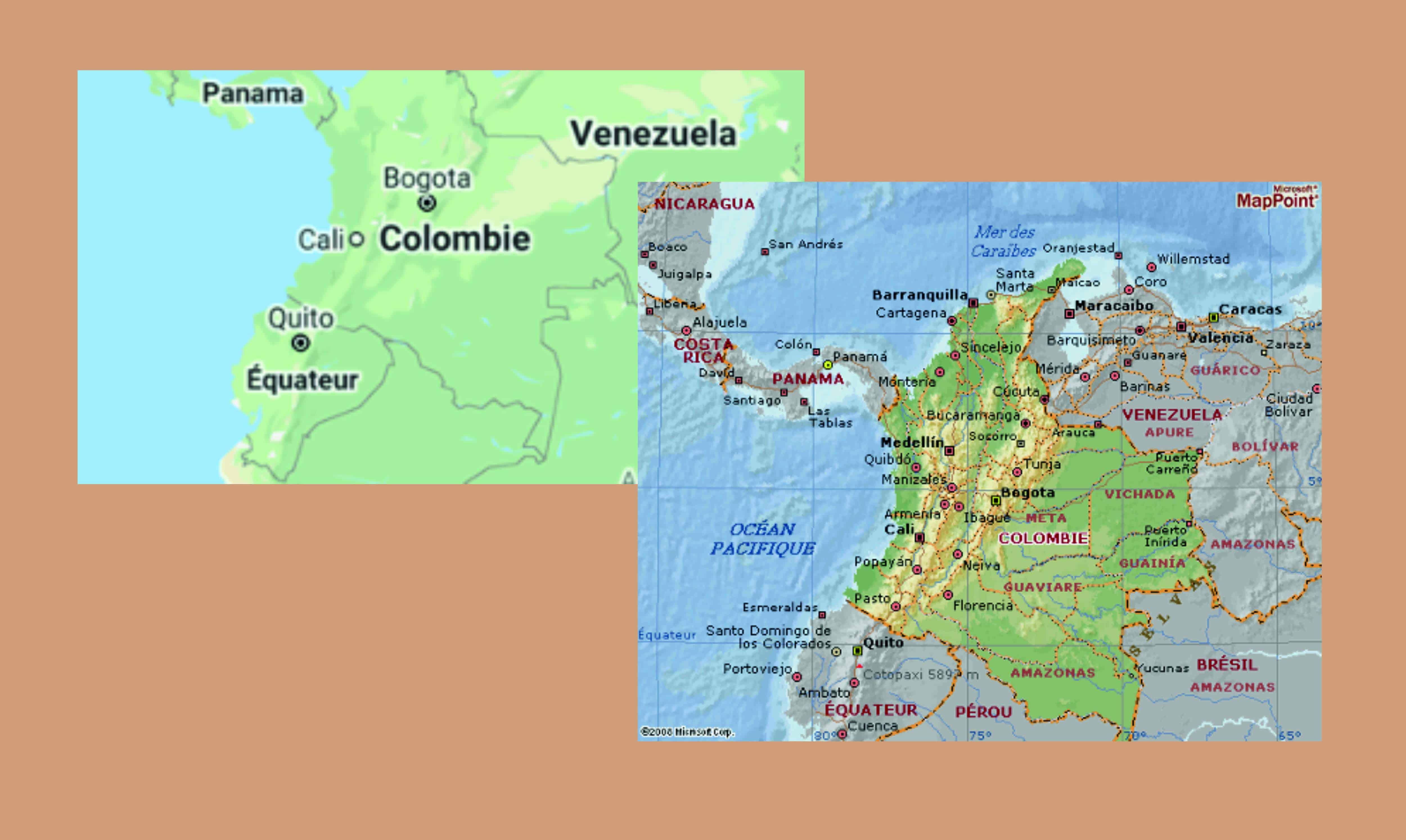 Représentation de 2 cartes de la Colombie
